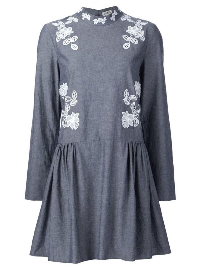 Suno macrame insert chambray dress, Women's, Size: 2, Grey
