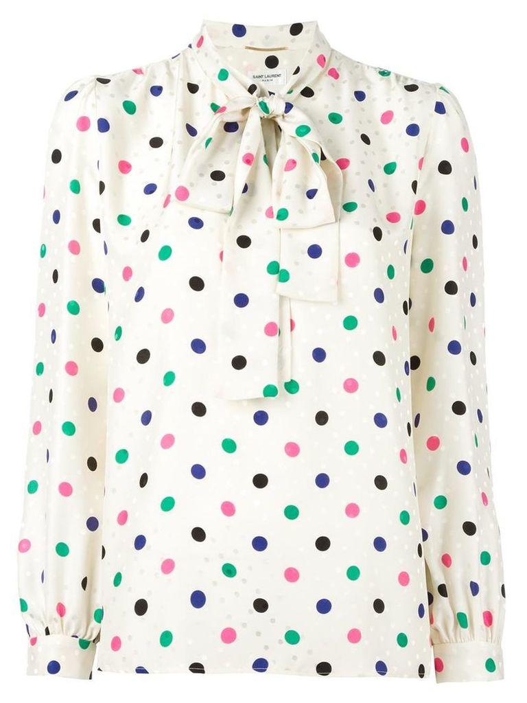 Saint Laurent polka dot lavaliere blouse, Women's, Size: 38, Nude/Neutrals