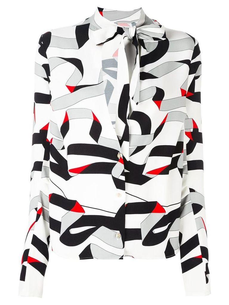 MSGM ribbon print shirt, Women's, Size: 40, White