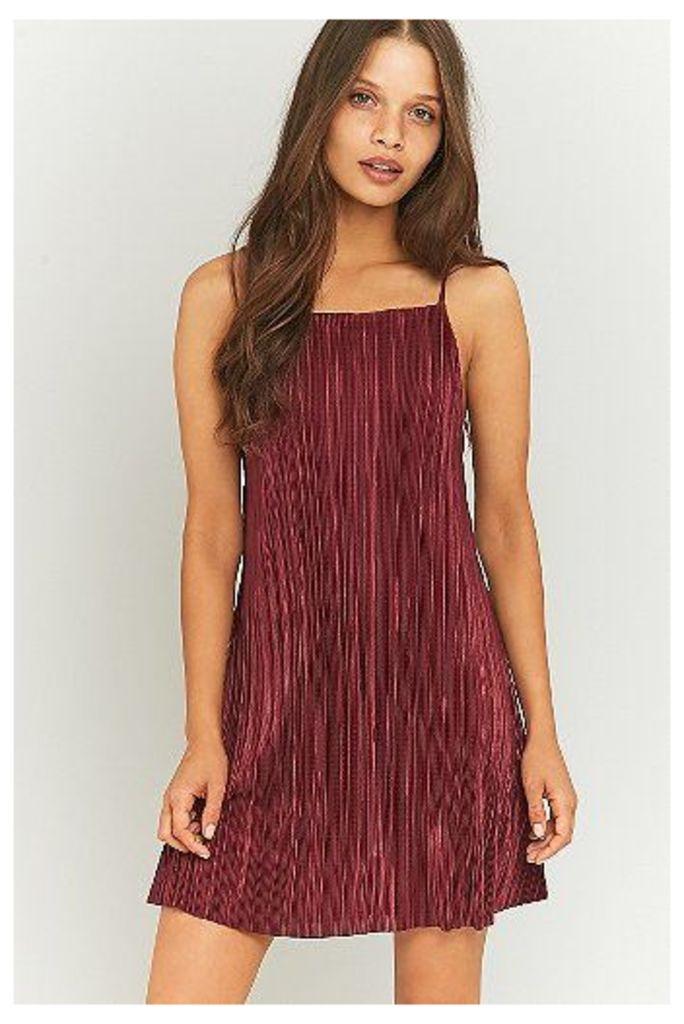 Pins & Needles Solid Pleated Slip Dress, Maroon