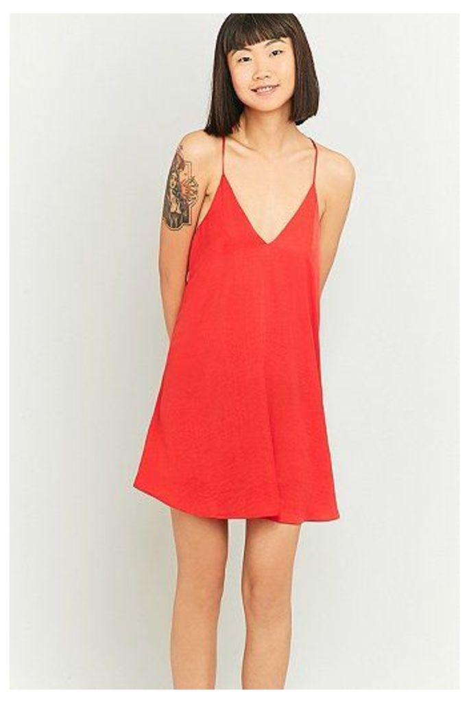 Pins & Needles Hammered Satin Slip Dress, Red