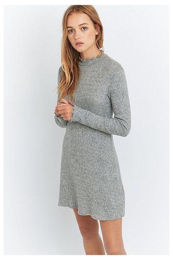 Pins & Needles Cosy Lettuce Edge Dress, Grey