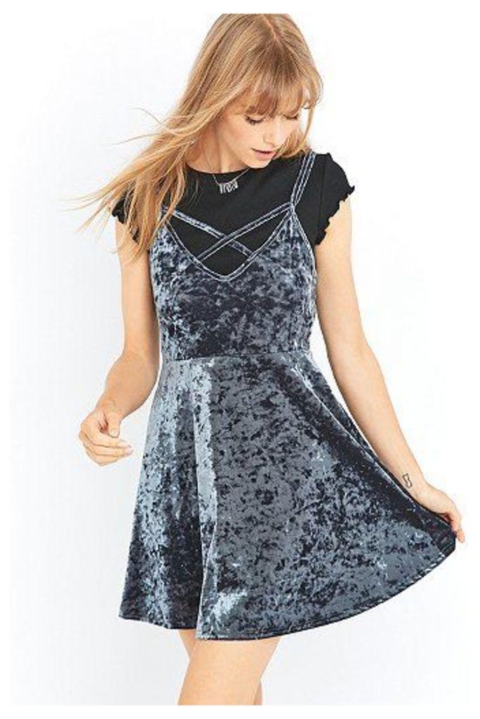 Pins & Needles Velvet Cross Front Dress, Grey