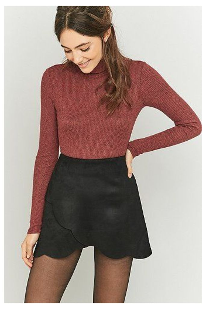 Urban Outfitters Scallop Wrap Black Suede A-Line Skirt, Black
