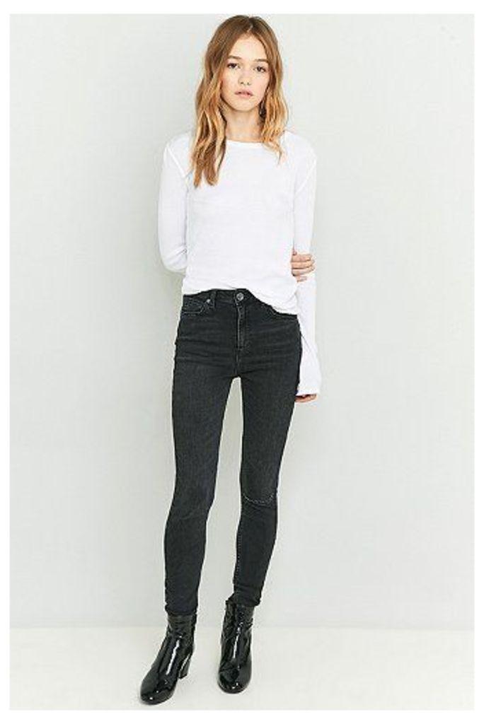 BDG Pine High-Waisted Worn Black Super Skinny Jeans, Black