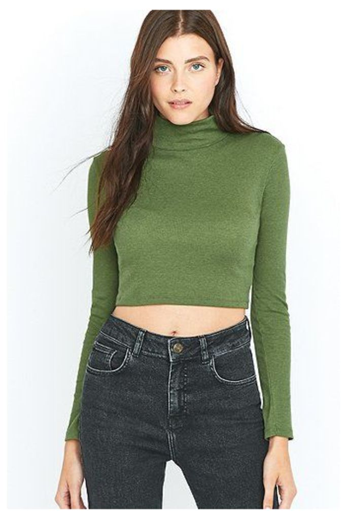 Urban Outfitters Ribbed Cropped Turtleneck Top, Khaki