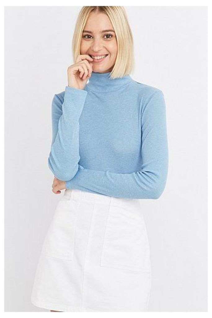 Urban Outfitters Long Sleeve Ribbed Turtleneck Top, Blue