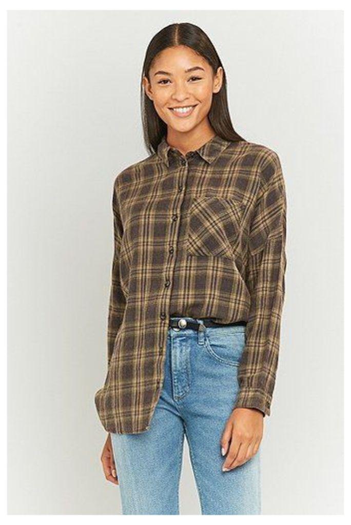 BDG Slouchy Beige Flannel Shirt, Beige