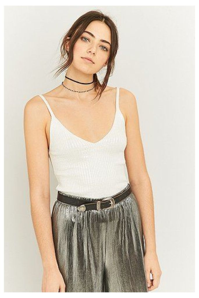 Urban Outfitters Metallic Foil Ribbed Cami, White