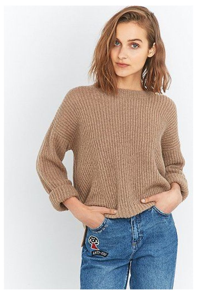Urban Outfitters Fluffy Fisherman's Jumper, Tan