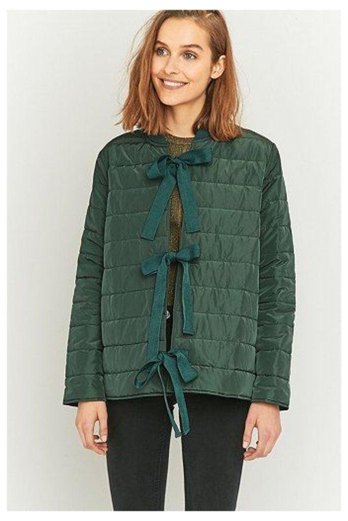 Light Before Dark Green Puffer Tie-Front Liner Jacket, Green