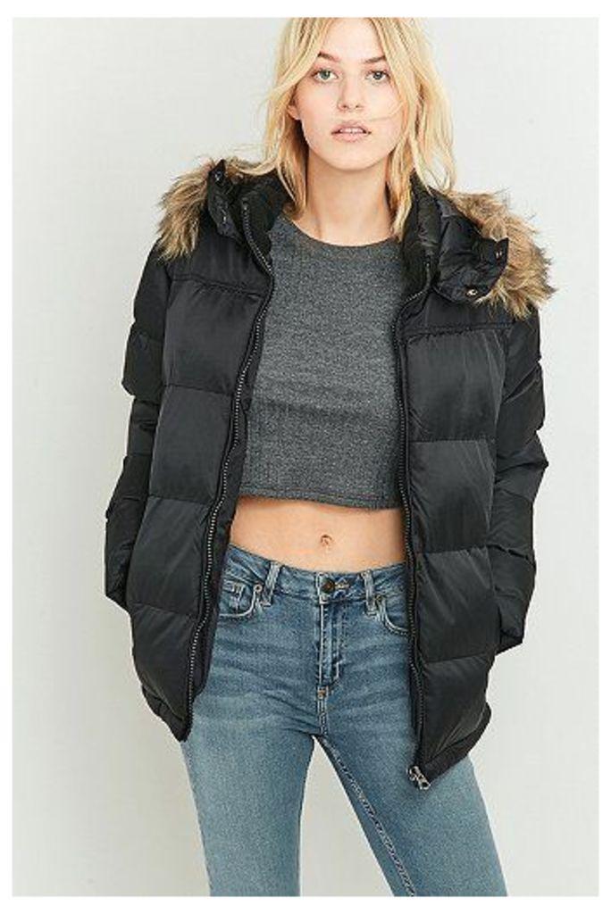Schott NYC Black Padded Puffer Jacket, Black