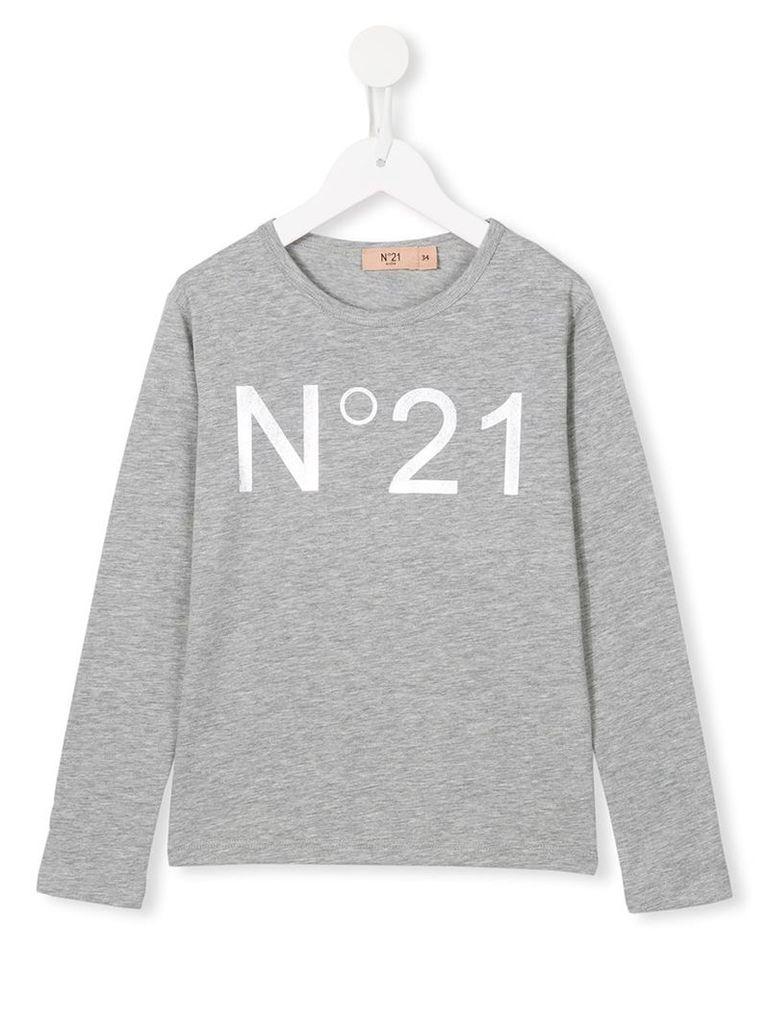 No21 Kids logo print T-shirt, Girl's, Size: 11 yrs, Grey