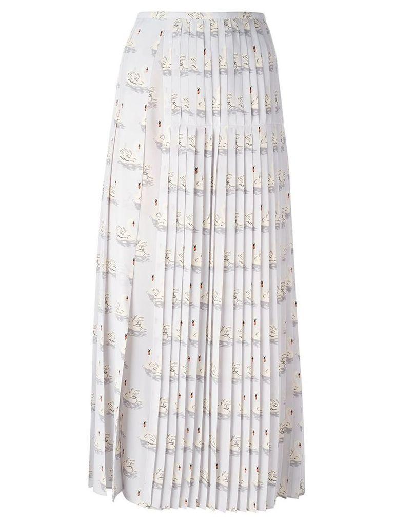 Stella McCartney 'Domiziana' swan print skirt, Women's, Size: 40, Grey