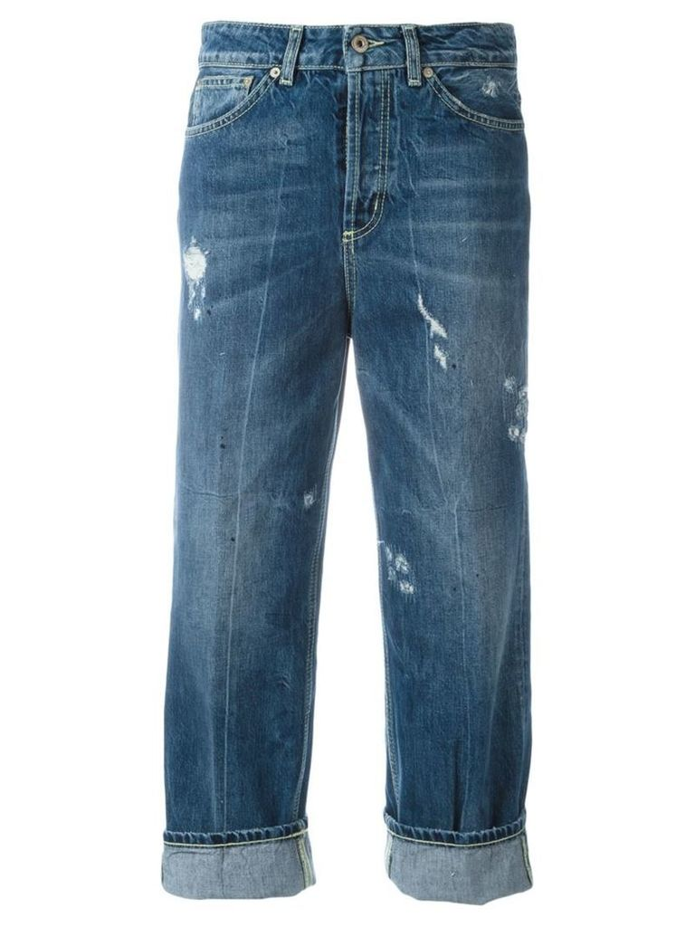 Dondup distressed cropped jeans, Women's, Size: 29, Blue