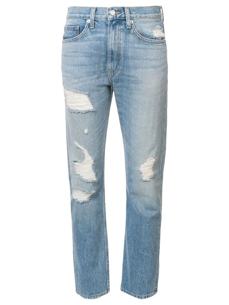 Brock Collection distressed slim straight leg jeans, Women's, Size: 4, Blue