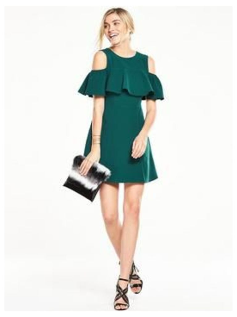 V By Very Ruffle Front Cold Shoulder Dress