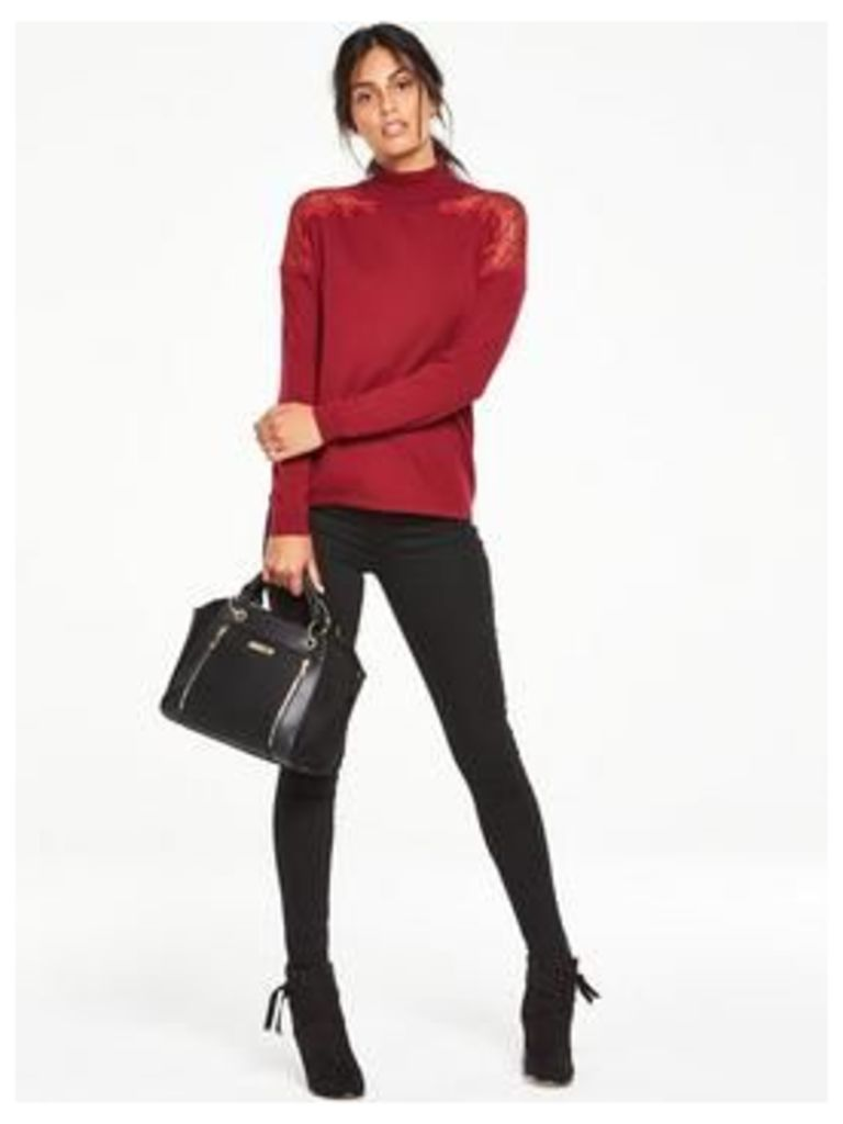 V By Very Lace Insert Roll Neck Jumper