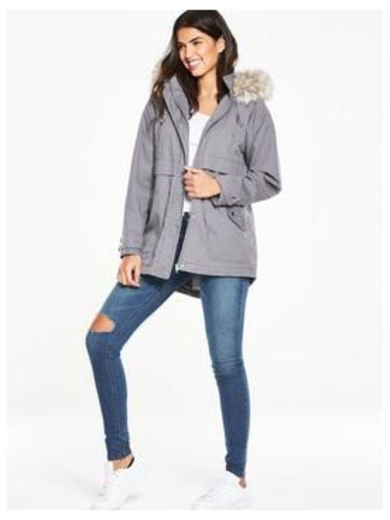 V By Very Pleat Back Oversized Parka Coat
