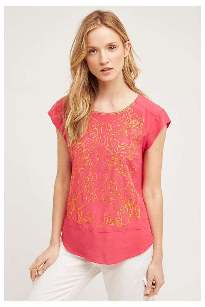 Sun-Stitched Top, Pink