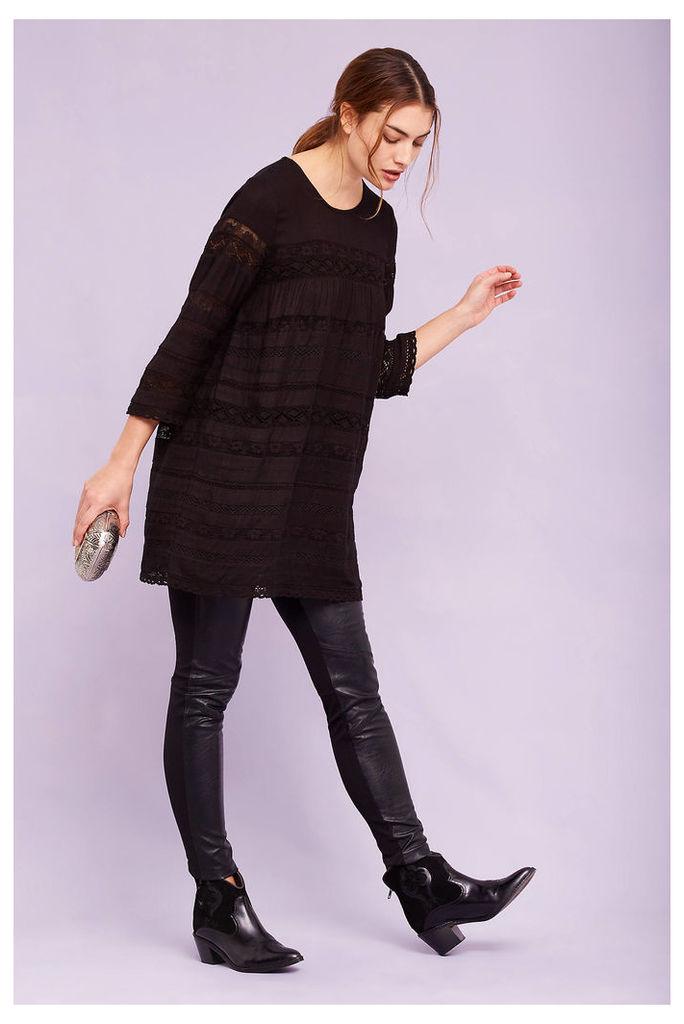 Lexa Lace Tunic Top, Black