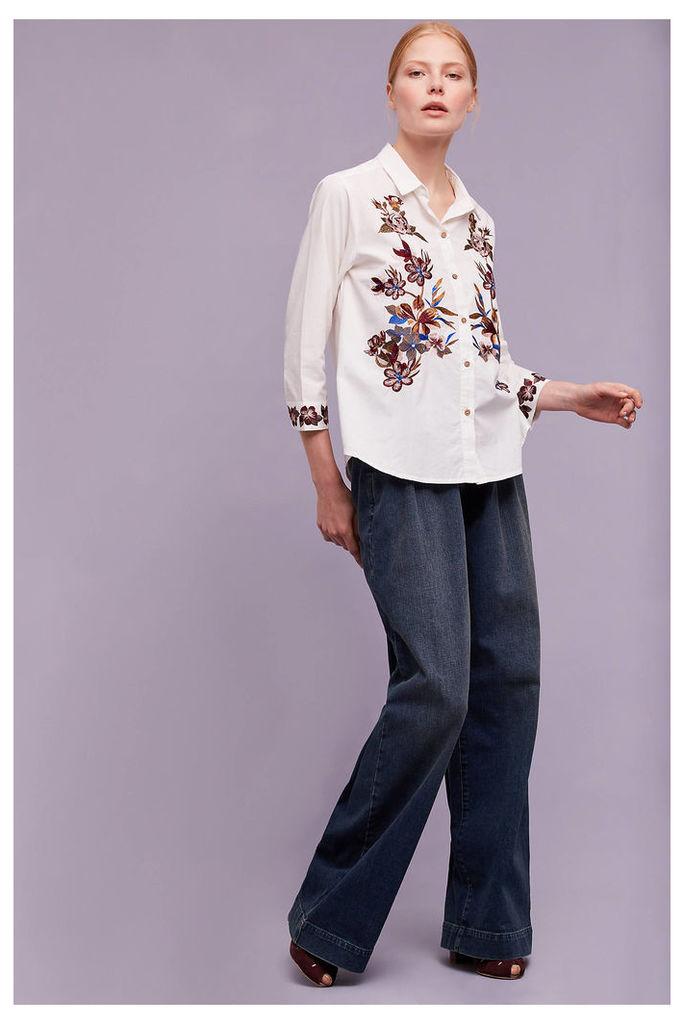 Ardenne Embroidered Poplin Shirt, White