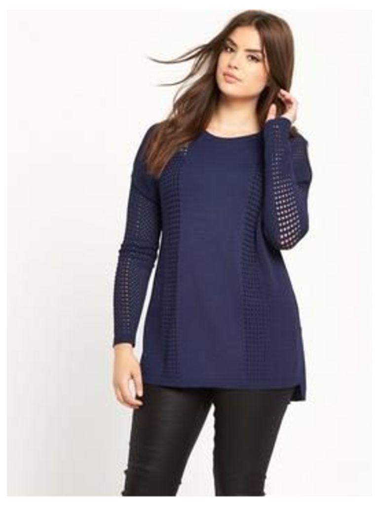 So Fabulous Airtex Cold Shoulder Fine Knit Jumper - Midnight Blue