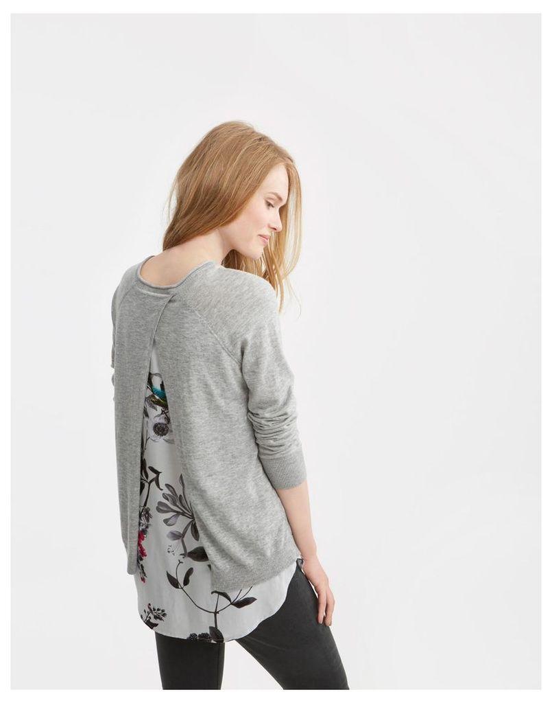 Soft Grey Marl Ellenor Woven Knit Mix Jumper  Size 8   Joules UK