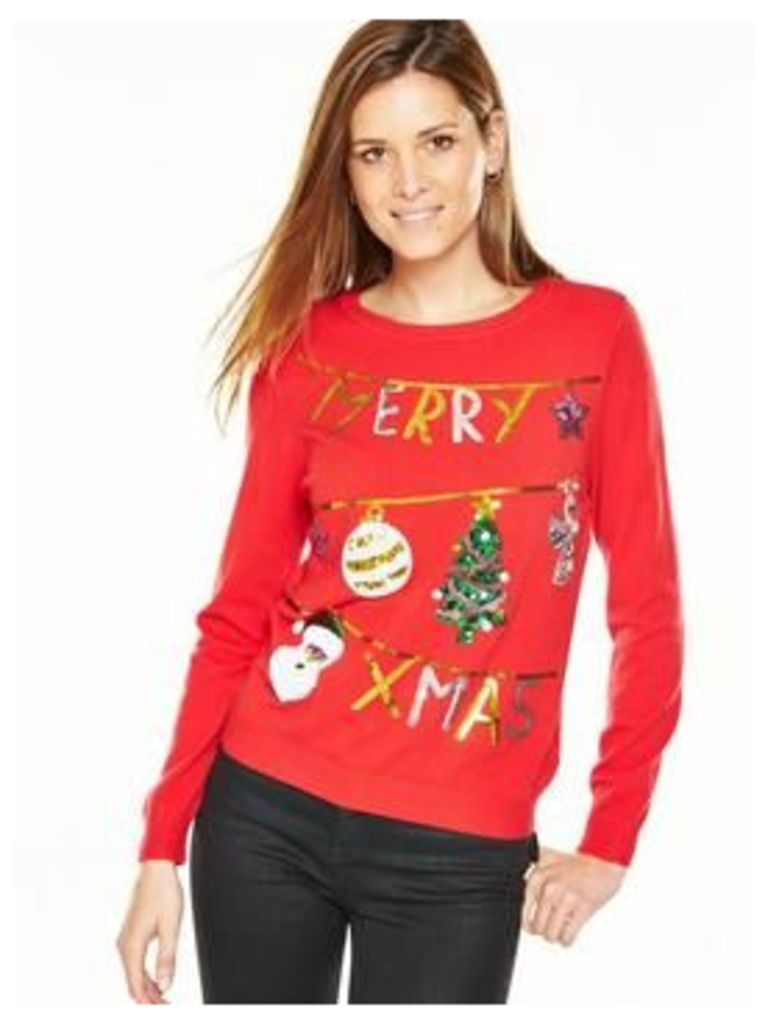 V By Very Merry Xmas Washing Line Embellished Jumper