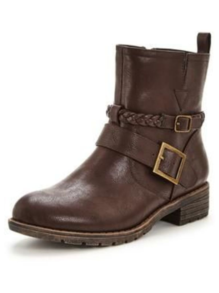 V by Very Gabrielle Casual Flat Buckle Ankle Boot , Dark Brown, Size 6, Women