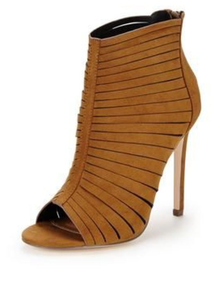 V by Very Holloway Caged Heeled Sandals - Tan, Tan, Size 3, Women