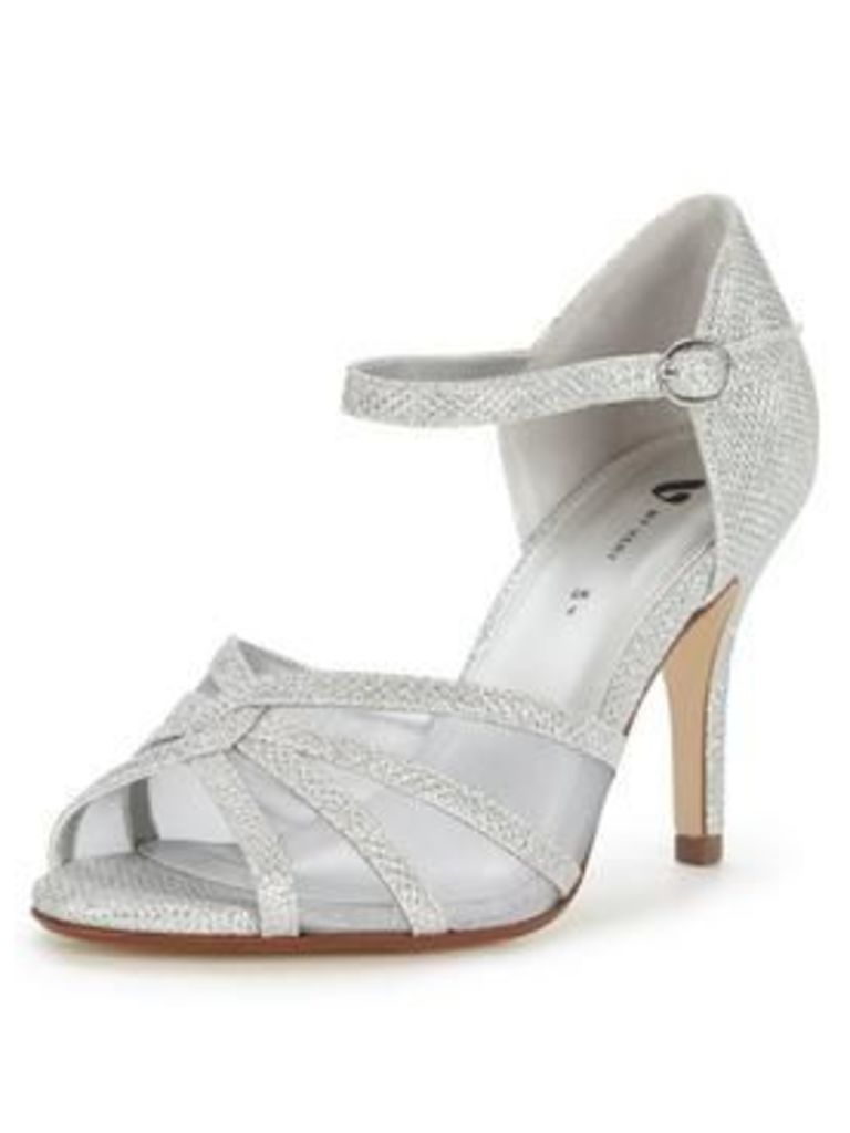 V by Very Fortune Mid Heel Sparkle Occasion Sandal, Silver, Size 6, Women