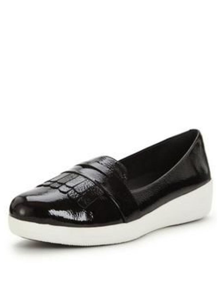 FitFlop Fringey Sneakerloafer Loafer, Black Patent, Size 8, Women