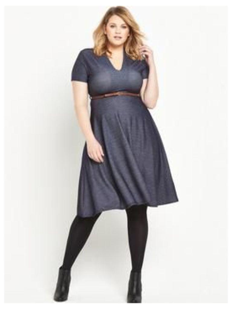 LOST INK CURVE Skater Dress in Denim Jersey - Blue, Blue, Size 24, Women