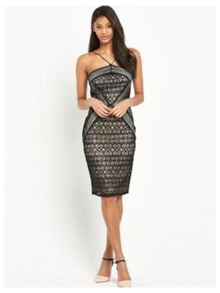 Lipsy Geometric Lace Dress, Black/Nude, Size 10, Women