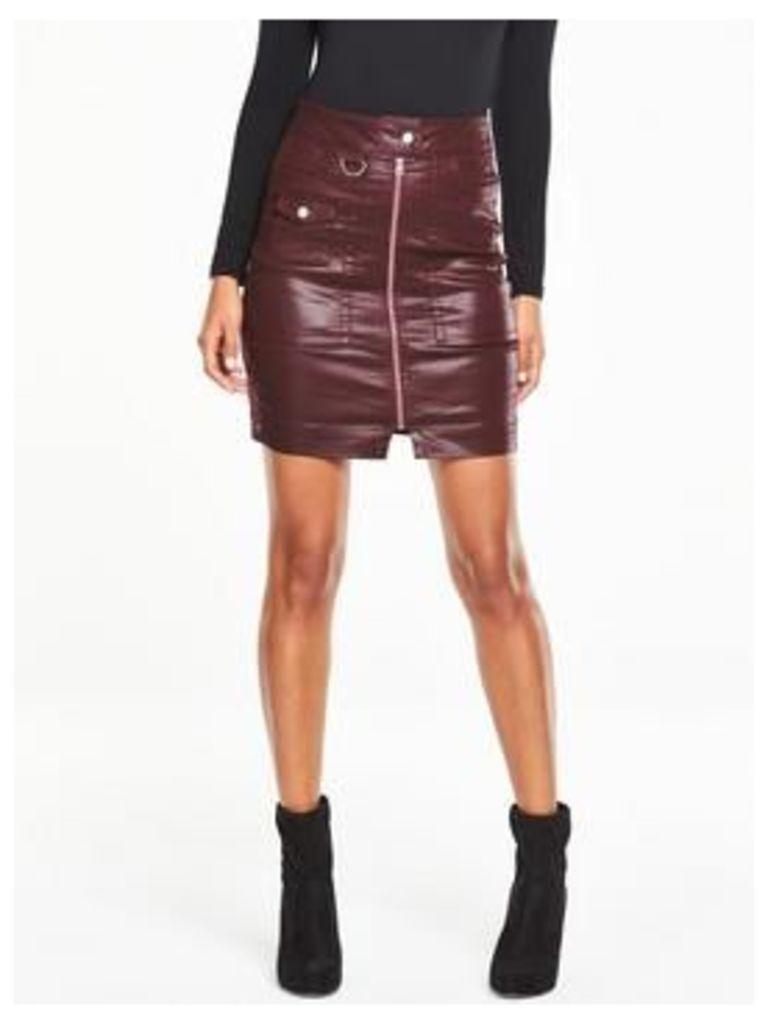 V by Very High Waisted Biker Mini Skirt - Burgundy, Burgundy Coated, Size 12, Women