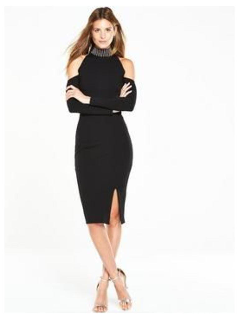 V by Very Studded Cold Shoulder Dress, Black, Size 14, Women