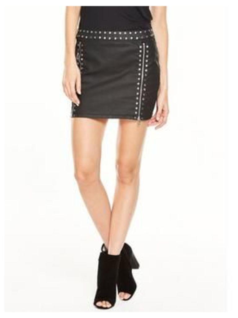 V by Very Coated Studded Mini Skirt, Black Coated, Size 10, Women
