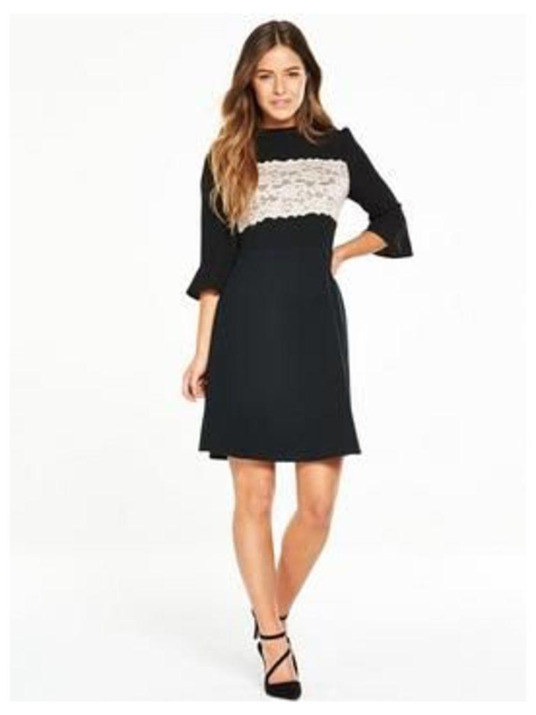 V by Very Petite Lace Panel Ponte Skirt Dress, Black/Nude, Size 16, Women