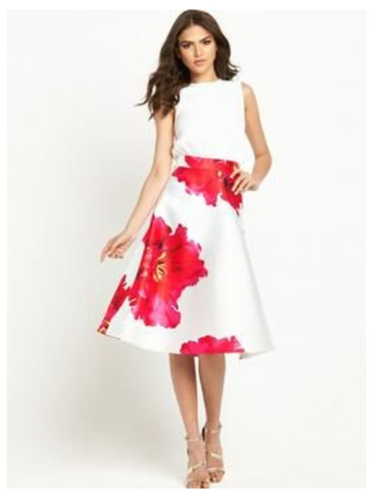 AX Paris Floral Fit And Flare Dress, Cream, Size 10, Women