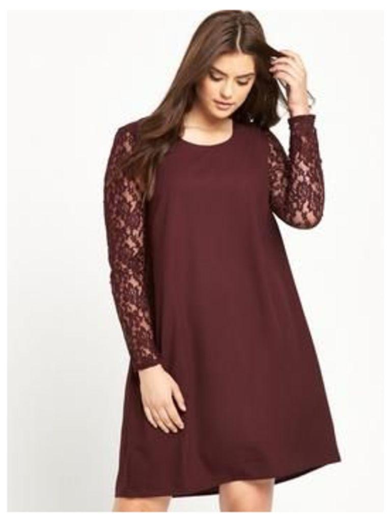 JUNAROSE Lace Sleeve Shift Dress - Wine, Wine, Size 18, Women