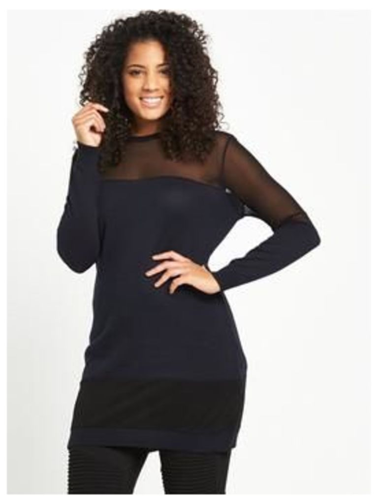 LOST INK CURVE TUNIC WITH MESH PANELS, Navy, Size 18, Women