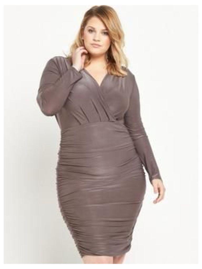 AX PARIS CURVE Ruched Midi Dress - Pewter, Pewter, Size 26, Women