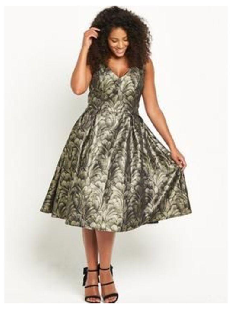 Chi Chi London Curve Embroidered Midi Dress - Metallic, Metallic, Size 26, Women