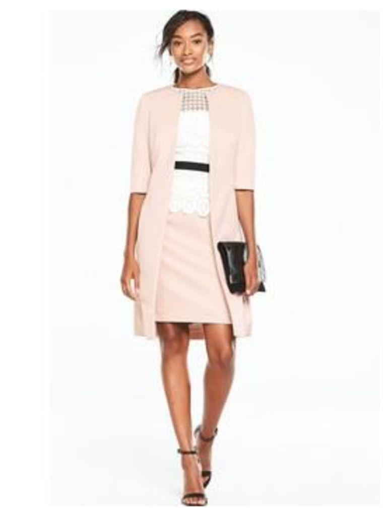 V by Very Lace Bodycon Dress With Suit Jacket - Nude/Pink, Nude Pink, Size 8, Women