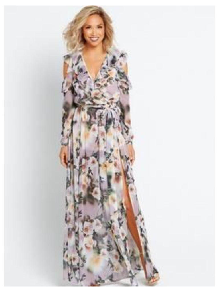 Myleene Klass Deep V Front Maxi Dress, Floral, Size 10, Women