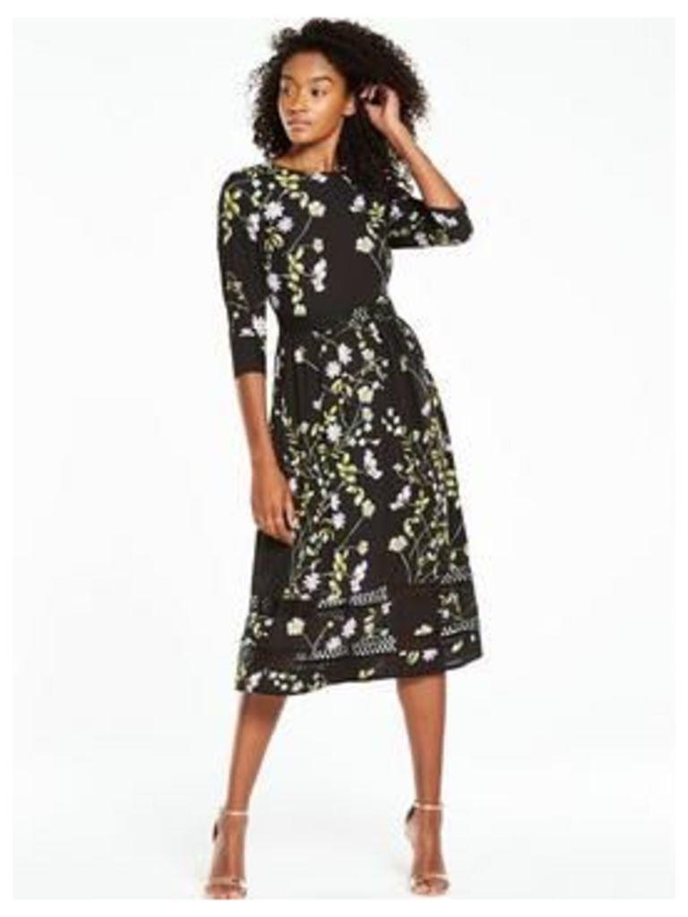 V by Very Printed 3/4 Sleeve Midi Dress, Print, Size 12, Women