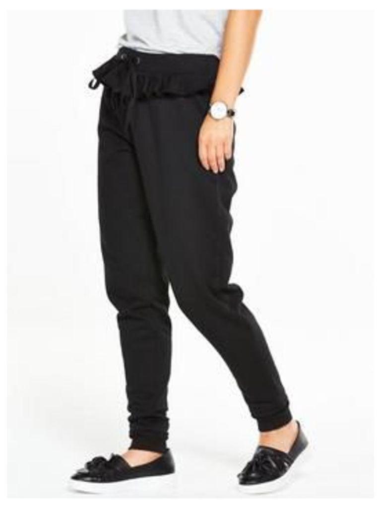 V by Very Petite Ruffle Detail Jersey Jogger, Black, Size 16, Women