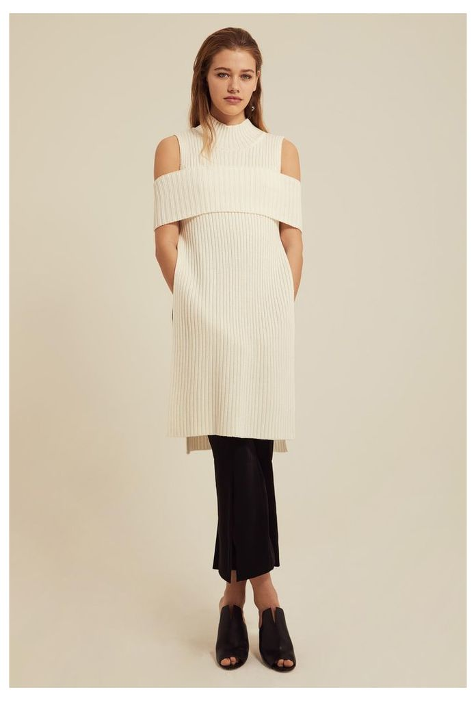 Ives Knitted Longline Top - Cream White