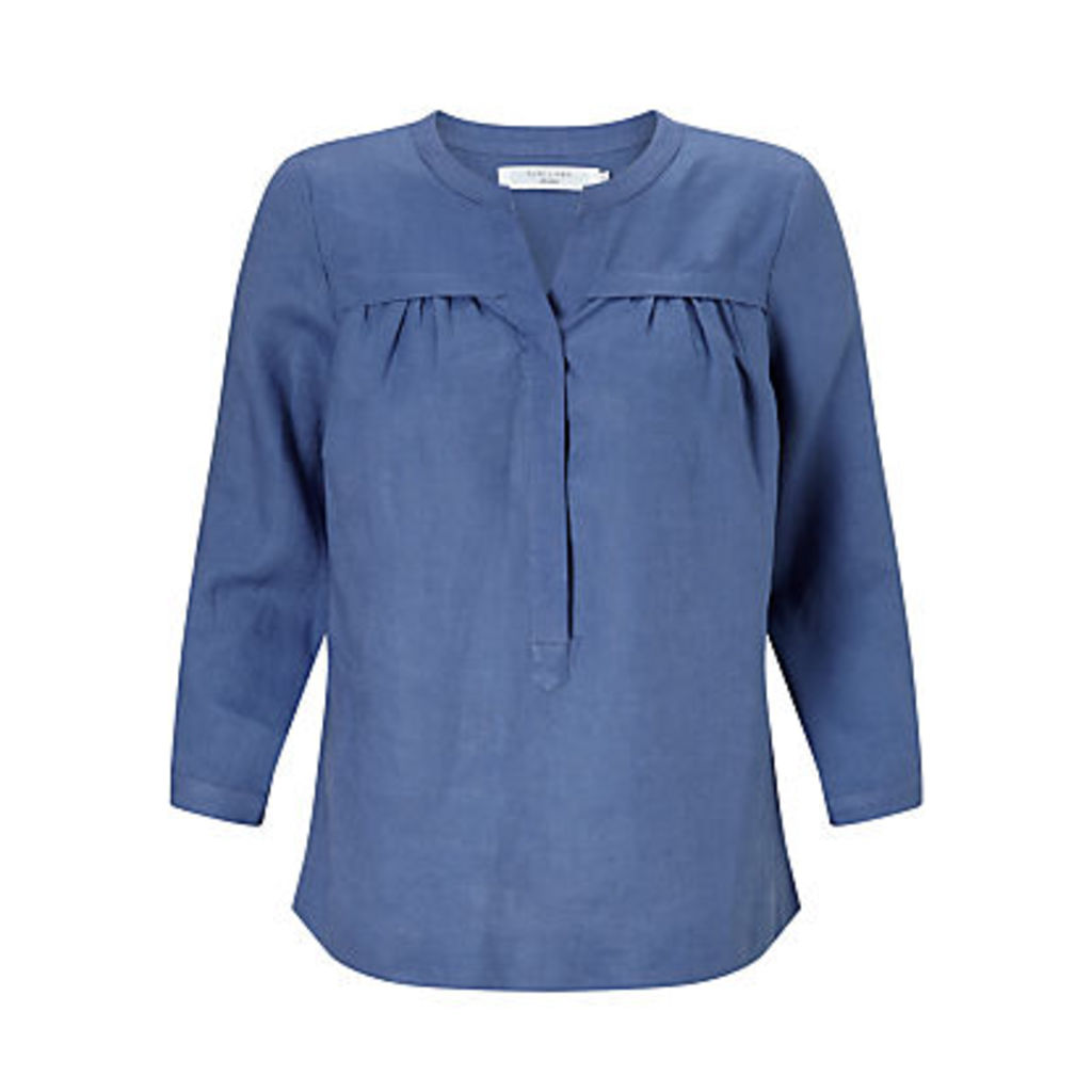 John Lewis Sandra Gathered Front Linen Blouse, Denim Blue
